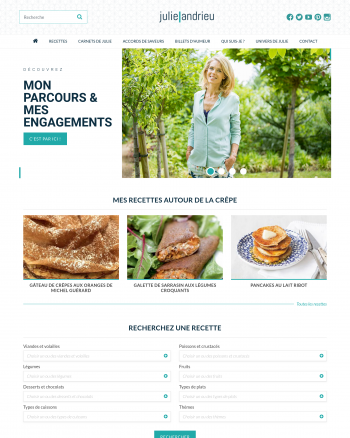 Julie Andrieu : site réalisé avec Kerfast